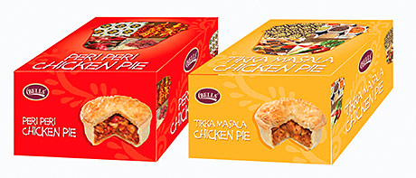 Bells Peri Peri Chicken Pie and Tikka Masala Chicken Pie – two lines developed as part of the Bells Foods Group new product development programme last year.