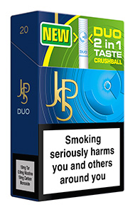 JPS Duo an example from the growing range of capsule technology cigarettes now available in the UK tobacco market.