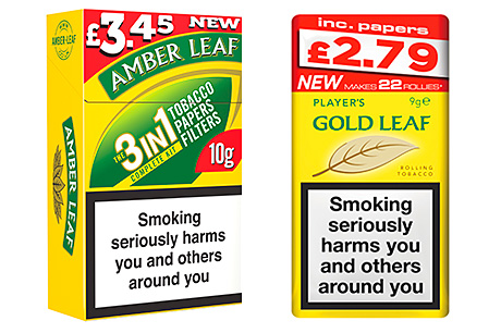 Two significant RYO developments in the last year. JTI's market-leading RYO brand  Amber Leaf was launched in a 10g handy pack with papers and filters at £3.45. And Imperial's Gold Leaf has a 9g pouch with papers on sale at £2.79.
