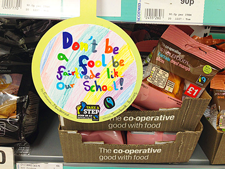 Scotmid will run a Fairtrade art project with local schools, looking for messages to use on wobbly signs next to Fairtrade goods.