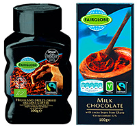 Discounter Lidl, which has been growing in Scotland, has its own range of Fairglobe products that carry the Fairtrade mark. Included in the Fairglobe range are milk chocolate, dark chocolate, cookies, instant coffee, tea bags, bananas, orange juice and one of the company's Cabernet Sauvignon wines.