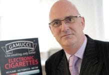 John Dunne, head of UK sales for Gamucci e-cigarettes, at retail launch activity earlier this year. The firm has now joined with other companies to respond to the debate on marketing regulation.