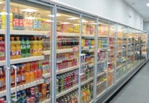 The impressive main run of chillers at the Vertex-refitted Shalamar Premier store in Paisley. As part of what was a major project, new chillers for soft drinks, dairy, chilled food and fresh produce were installed. The shop also has a five-door freezer run as well as extensive open-deck chillers in the alcohol area.