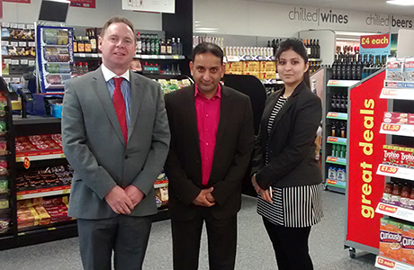 left to right: John Miller, One Stop Franchise Head of Operations, Mr Mirza and Sam Ali, new One Stop franchisees