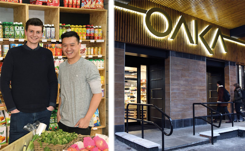 Left: Owners Eric Caira and Jonathan Leung. Right: Oaka Supercity Glasgow, situated in a form RBS building