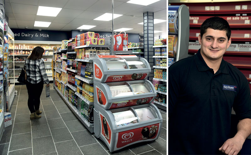 Trained as a vehicle paint sprayer, Rehan Amin (above) re-entered the family business five years ago when his father bought a small shoe shop in Wick town centre and converted it to a c-store. Now he is running a much larger KeyStore More down the street.