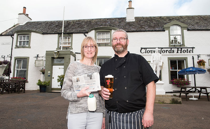 Theresa and Roy McIntosh have reopened their local village shop inside the Clovenfords Hotel, with financial assistance from Pub is the Hub.
