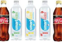 Coca Cola Zero Sugar Vanilla and sparkling Smartwater.