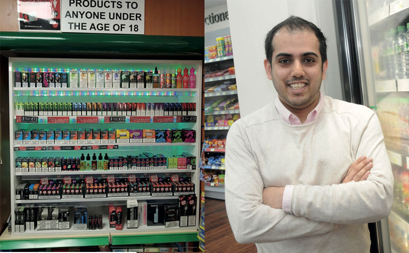 [Left] Ferhan Ashiq has created an area that he calls a 'store within a store' for e-cigarettes that has boosted sales. [Right] Ferhan Ashiq, Prestonpans