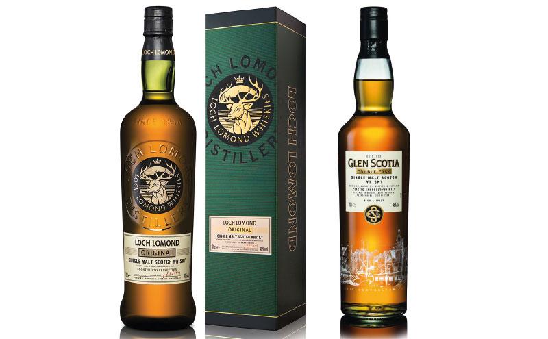 Loch Lomond Original and Glen Scotia Double Cask bottles