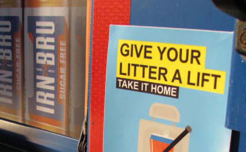 """Irn-Bru  branded delivery trucks have been carrying """"Give Your Litter A Lift"""" stickers in support of Keep Scotland Beautiful's anti-roadside litter campaign."""