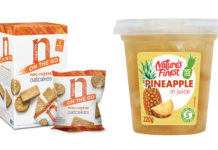 Nairns mimi cheese carton and bag, and Nature's Finest Pineapple