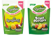 Last year Nestlé launched 30% less sugar versions of Pastilles and Randoms. The recipe took two years to develop and resulted in a 7% calorie reduction per pack.