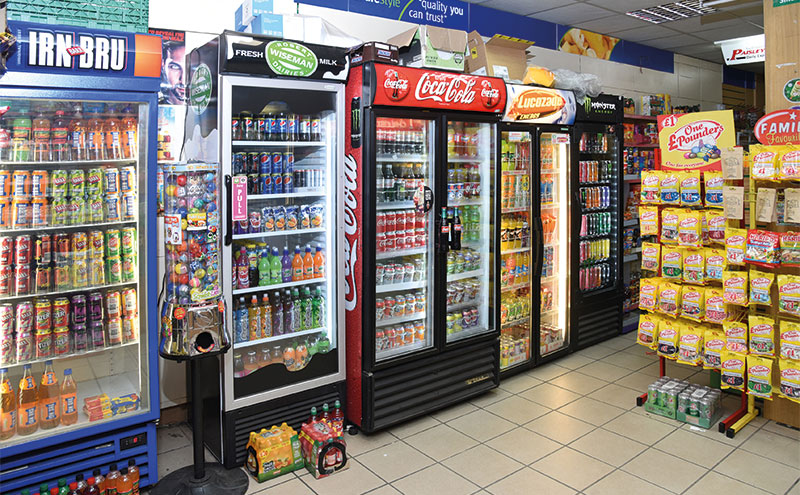 It's not all charity at Rekz's store, which also offers an expansive soft drink range.