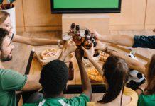 Watching football at home