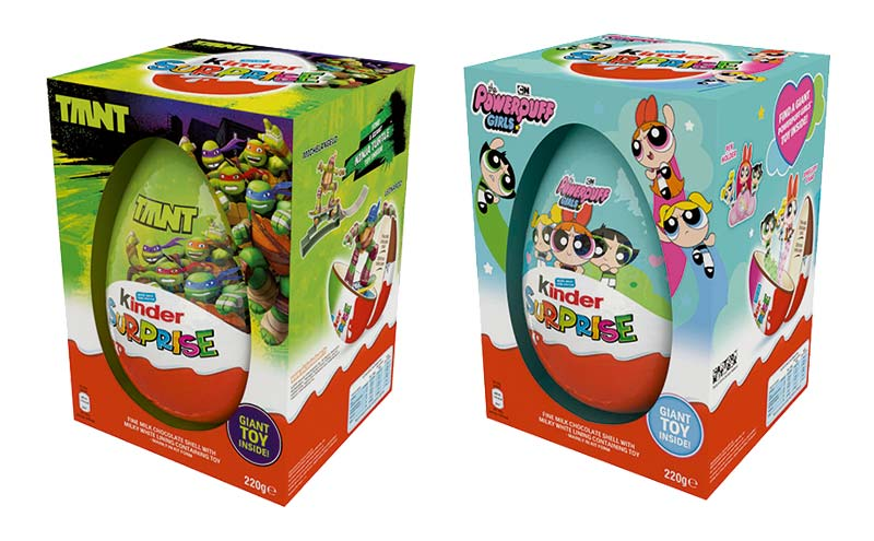 Ferrero Kinder Surprise easter egg range Teenage Mutant Hero Turtles and Power Puff Girls