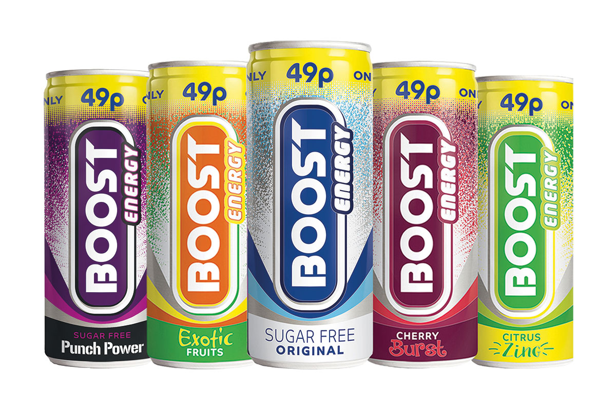 The Boost energy drink range in PMP format 49p