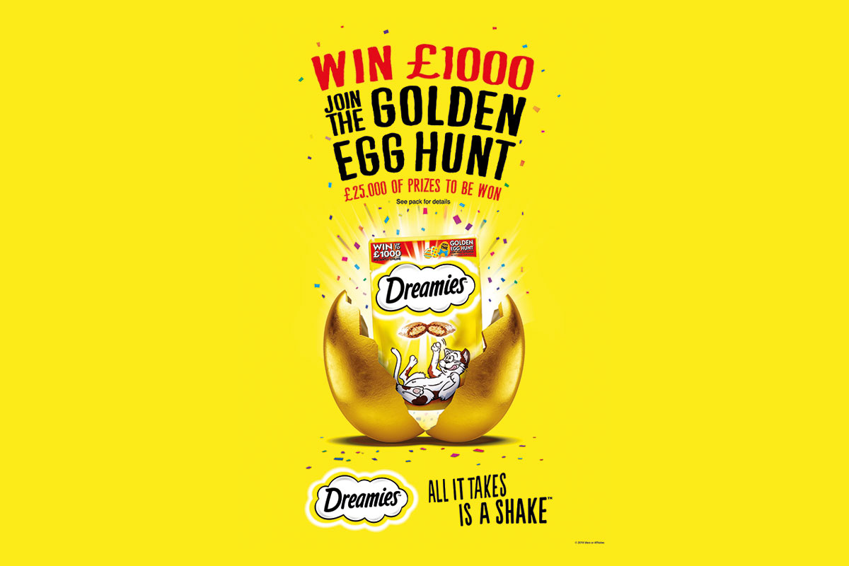 Dreamies win £1000. Join the Golden Egg Hunt, £25,000 of prizes to be won