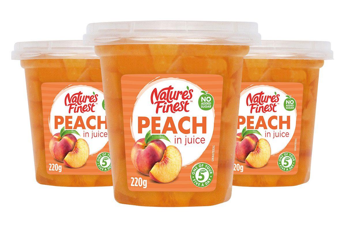 Nature's Finest Peach in Juice 220g pots
