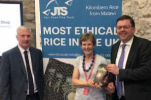 Mary Pobble of JTS most ethical rice award