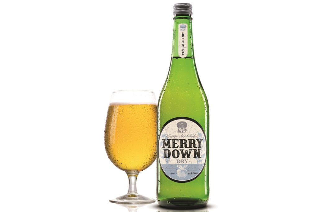 Merrydown Dry bottle and glass