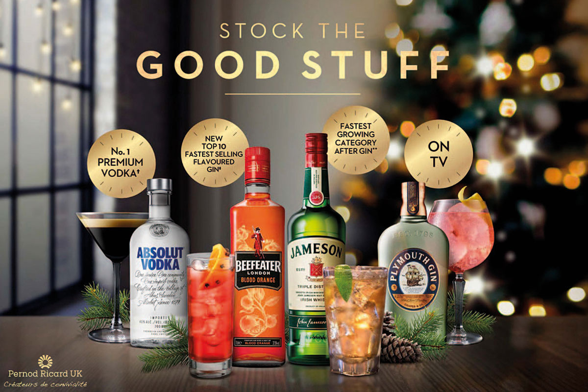 Pernod Ricard Christmas portfolio including Absolut Vodka, Beefeater London Blood Orange gin, Jameson Irish whisky and Plymouth gin