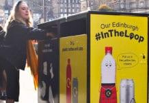 girl putting rubbish in bin