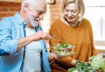 older generation enjoying salad