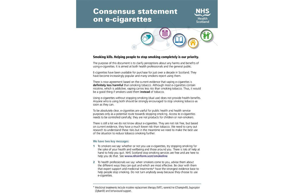 NHS e-cigarette consensus