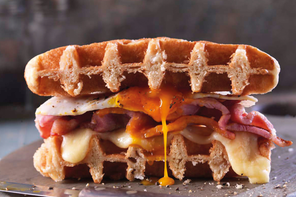 St Pierre waffle with bacon