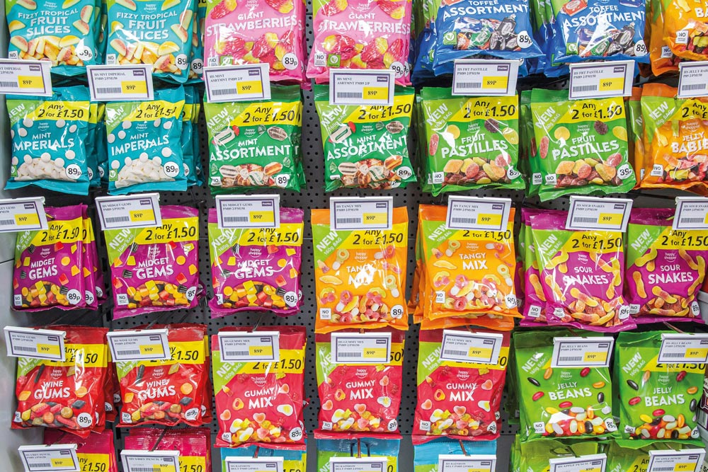 colourful packets of sweets