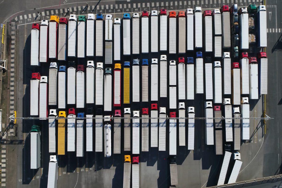 Lorries queuing at dock