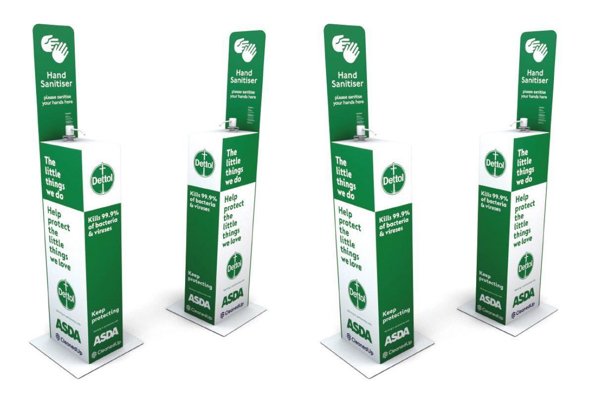 Dettol hand sanitiser stations
