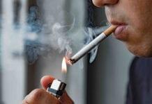 Man smoking cigarette