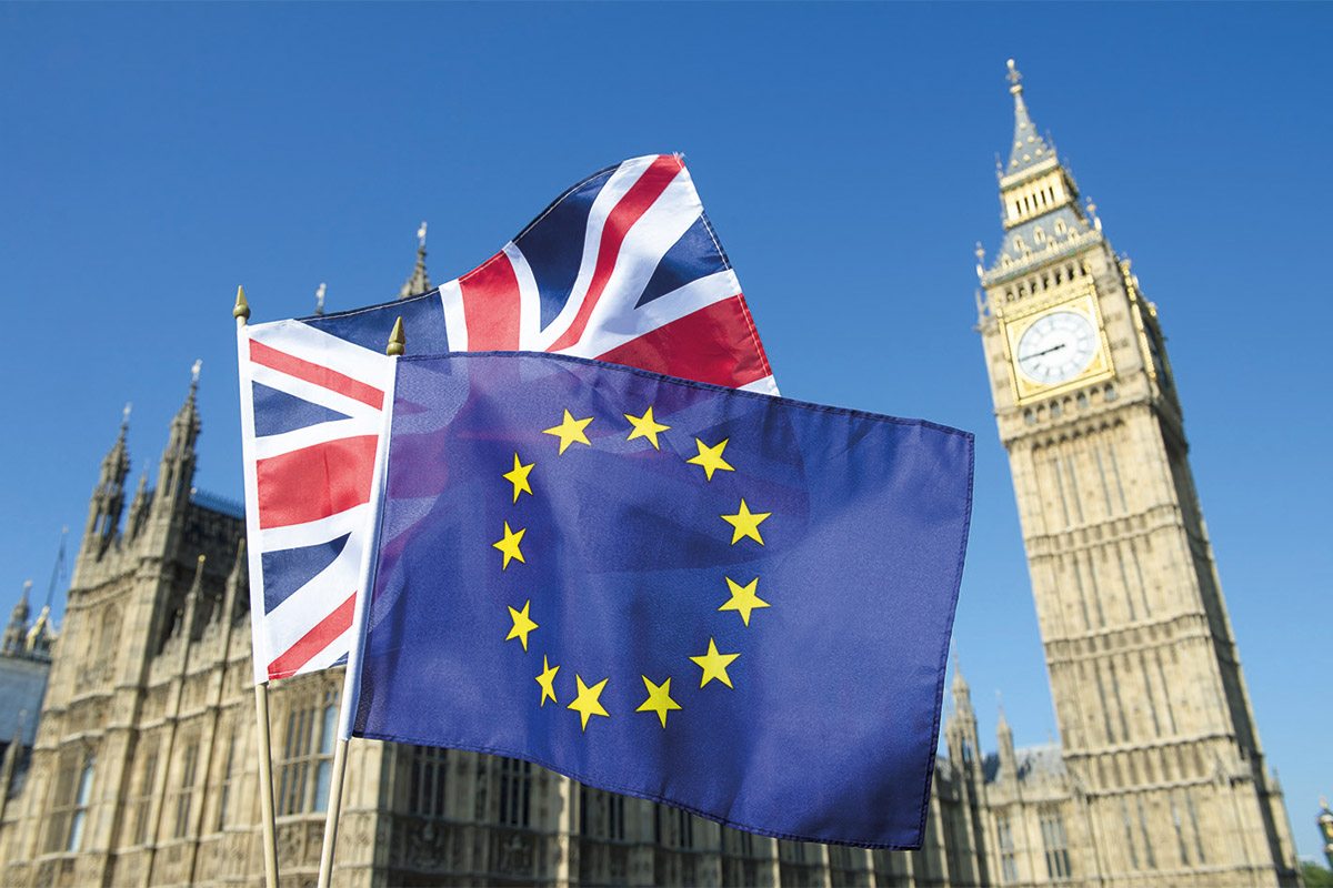 UK and European flag at Westminster