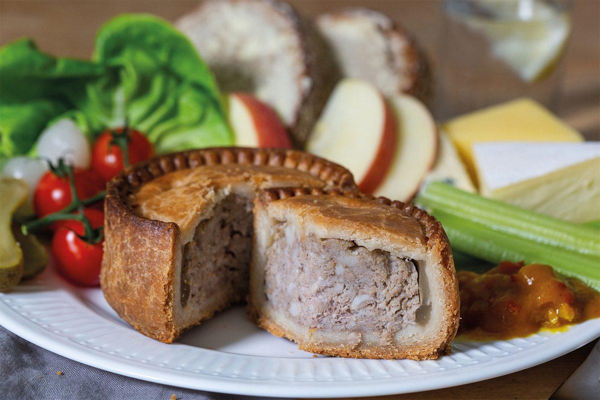 Pork pie on plate