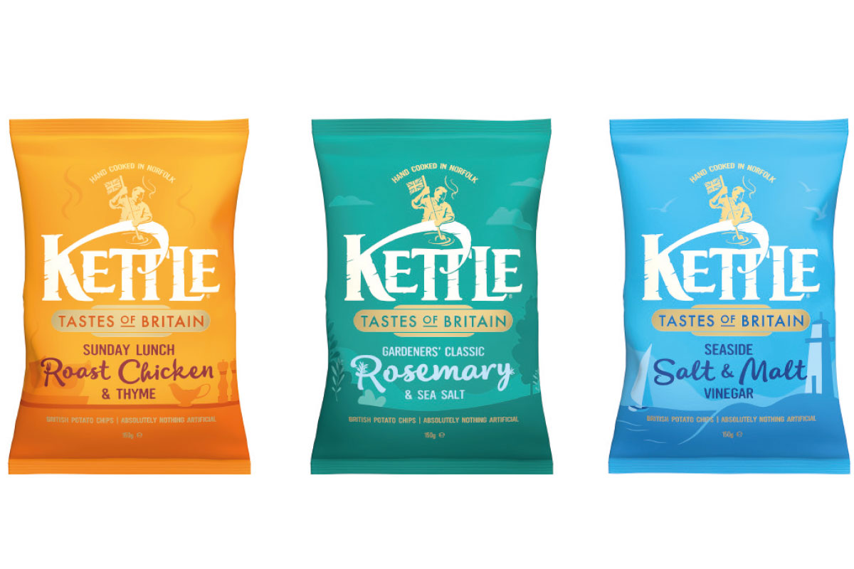 The new Kettle Chips comprises three flavours inspired by British cuisine.