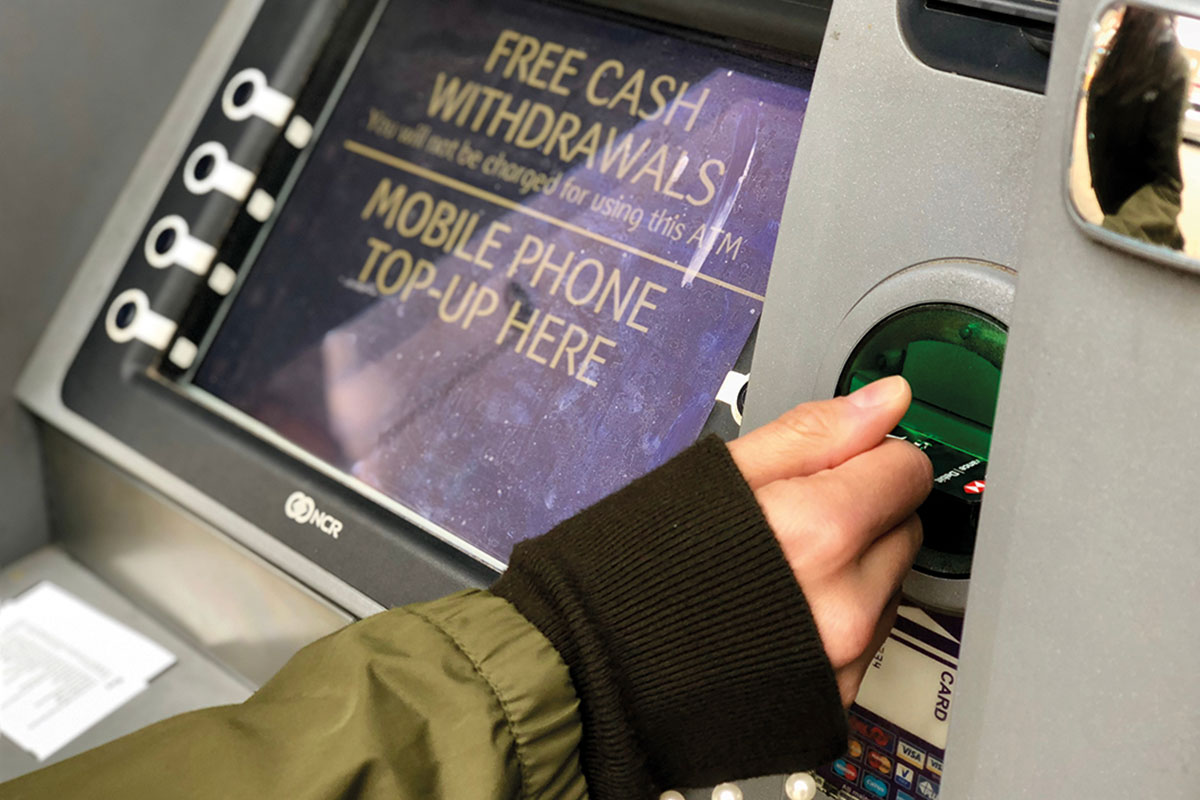 Person at a cash point