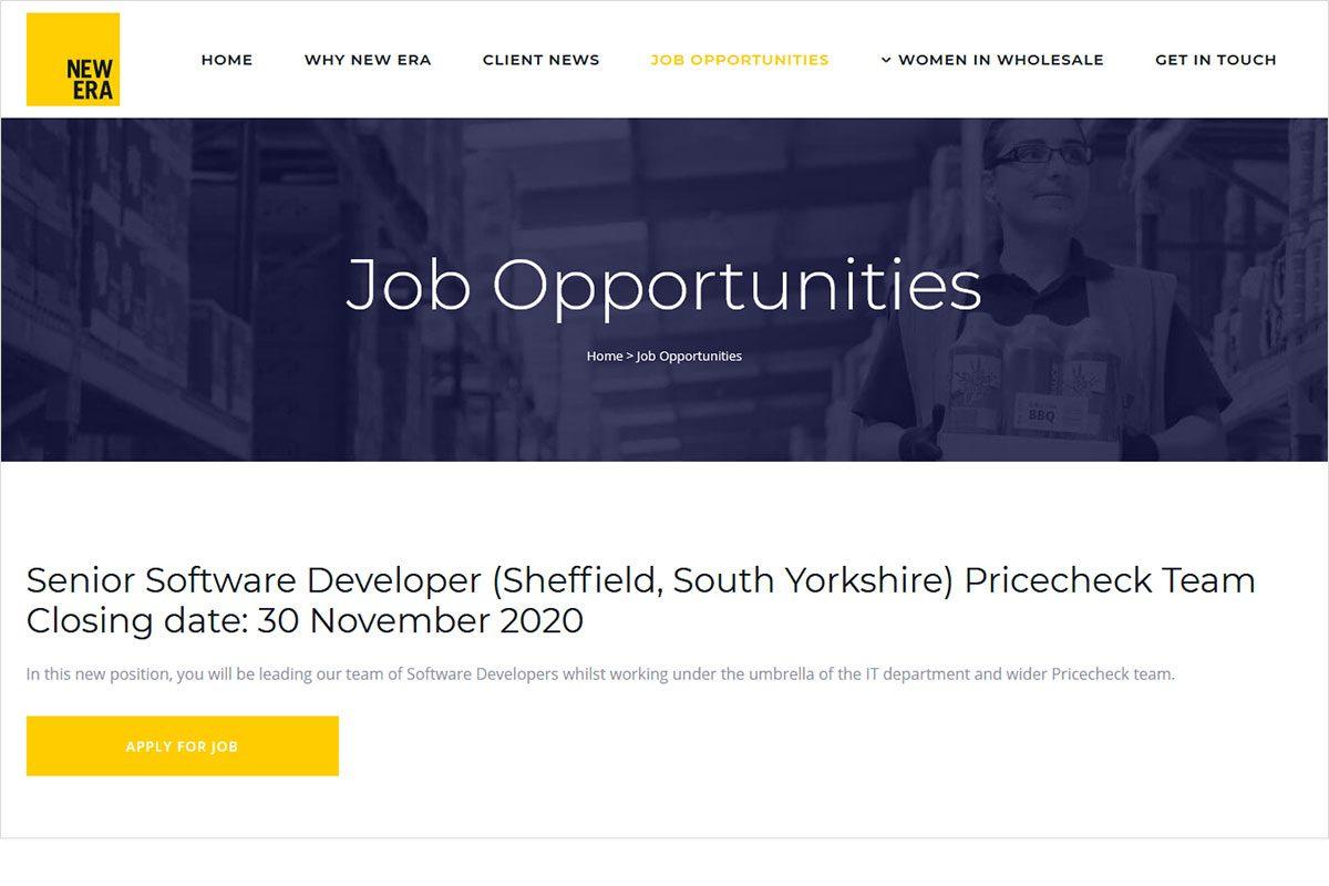 Women in Wholesale job website screenshot
