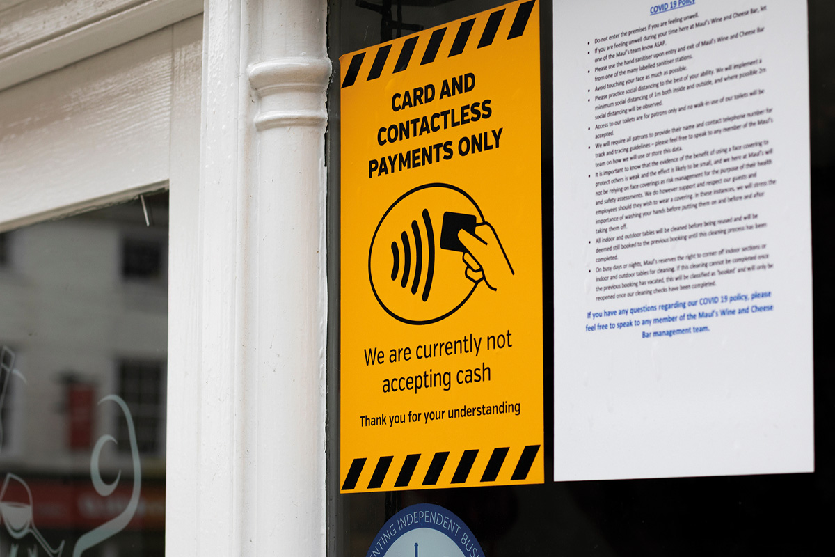 Contactless & card payment only sign