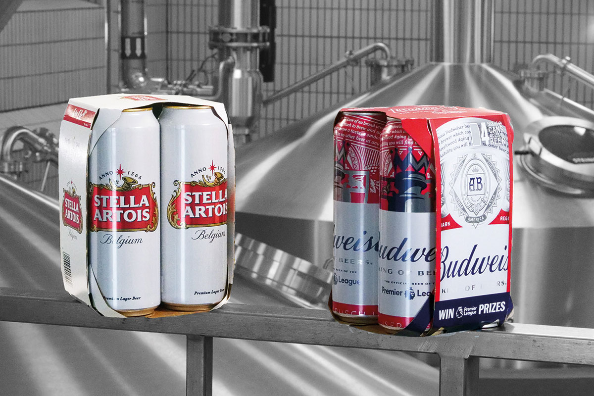 Plastic rings were removed from Budweiser, Bud Light and Stella Artois packs.
