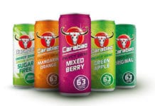 Carabao drinks range in different coloured cans