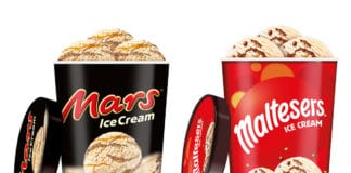 Mars and Malteser ice cream tubs