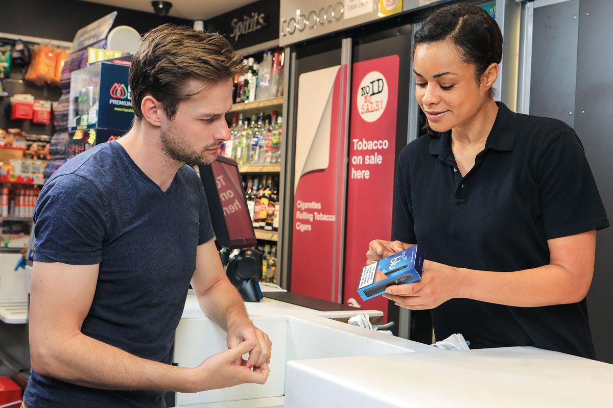 Retailer showing blu vape