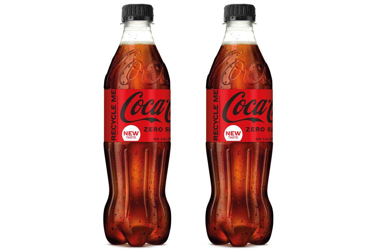 2 bottles of Coca Cola Zero Sugar against a white backgroun.