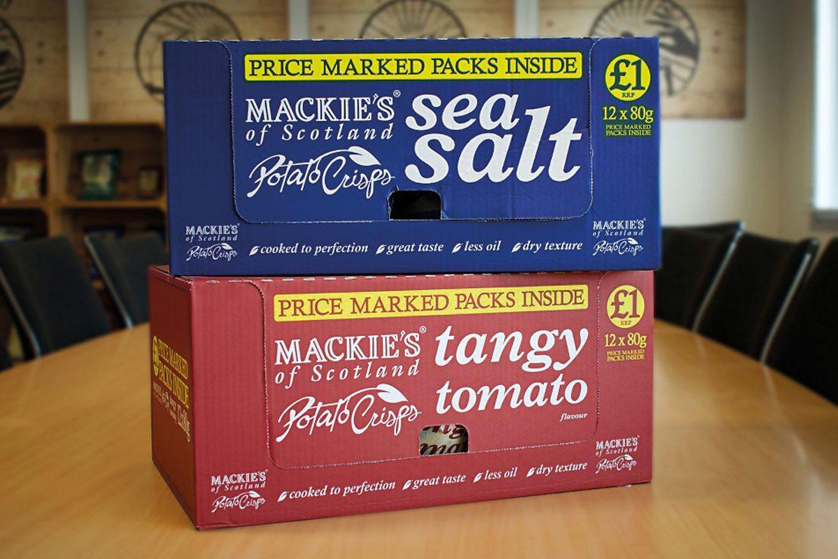 Mackie's crisps boxes