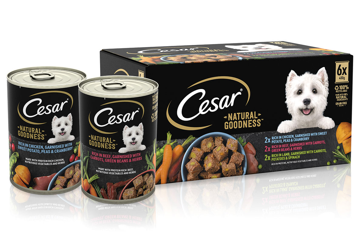 Cans of Cesar Dog Food