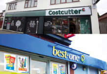 The store front of Cost Cutter (on top) and Best one (on bottom)
