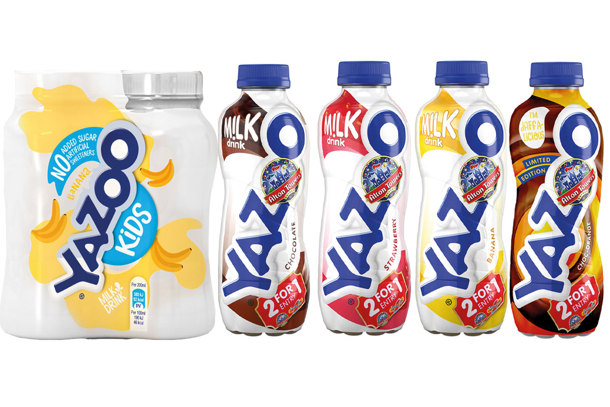 Yazoo sharing packs and flavoured milk bottles