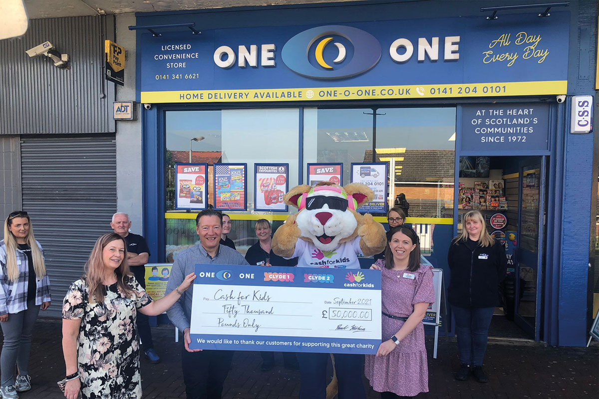 One-O-One Convenience delivered the £50,000 cheque to Cash for Kids.